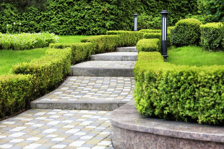 Prachtige tuinontwerp met tuinpad in klinkers en border met hagen
